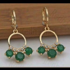New green cz dangle earrings